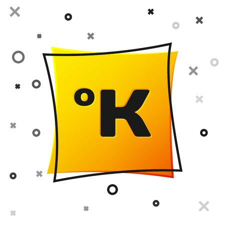 Black Kelvin icon isolated on white background. Yellow square button. Vector Illustration