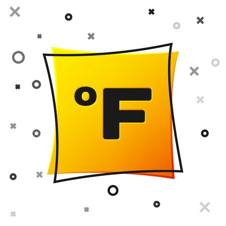Black Fahrenheit icon isolated on white background. Yellow square button. Vector Illustration 向量圖像