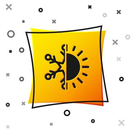 Black Hot and cold symbol. Sun and snowflake icon isolated on white background. Winter and summer symbol. Yellow square button. Vector Illustration 向量圖像