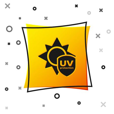 Black UV protection icon isolated on white background. Sun and shield. Ultra violet rays radiation. SPF sun sign. Yellow square button. Vector Illustration Illustration