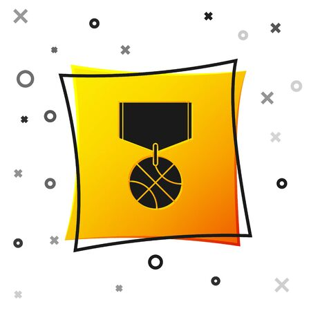 Black Basketball medal with ribbon icon isolated on white background. Yellow square button. Vector Illustration