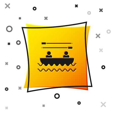 Black Boat with oars and people icon isolated on white background. Water sports, extreme sports, holiday, vacation, team building. Yellow square button. Vector Illustration