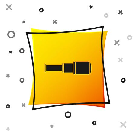 Black Spyglass telescope lens icon isolated on white background. Sailor spyglass. Yellow square button. Vector Illustration