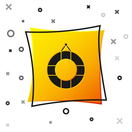 Black Lifebuoy icon isolated on white background. Lifebelt symbol. Yellow square button. Vector Illustration 向量圖像