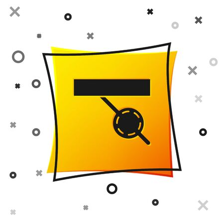 Black Pirate eye patch icon isolated on white background. Pirate accessory. Yellow square button. Vector Illustration