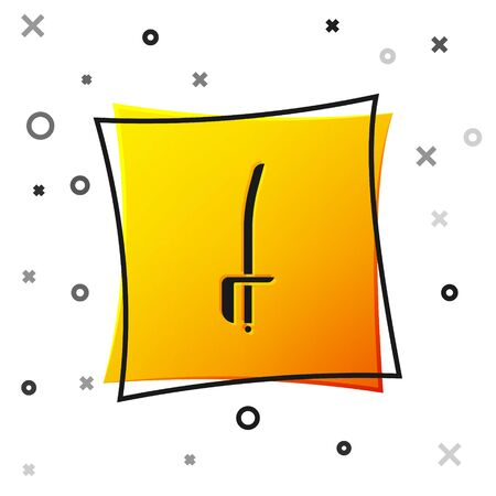 Black Pirate sword icon isolated on white background. Sabre sign. Yellow square button. Vector Illustration