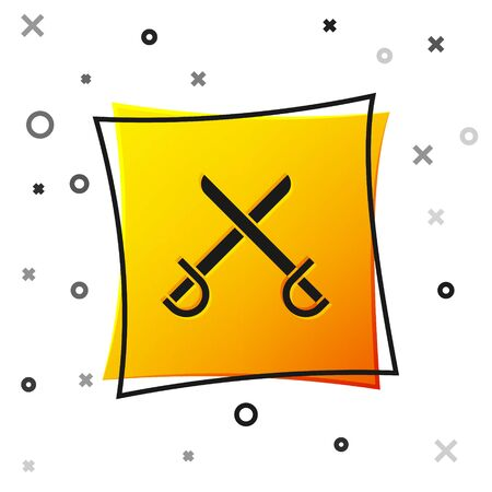 Black Crossed pirate swords icon isolated on white background. Sabre sign. Yellow square button. Vector Illustration
