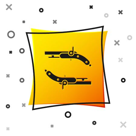 Black Vintage pistols icon isolated on white background. Ancient weapon. Yellow square button. Vector Illustration 일러스트