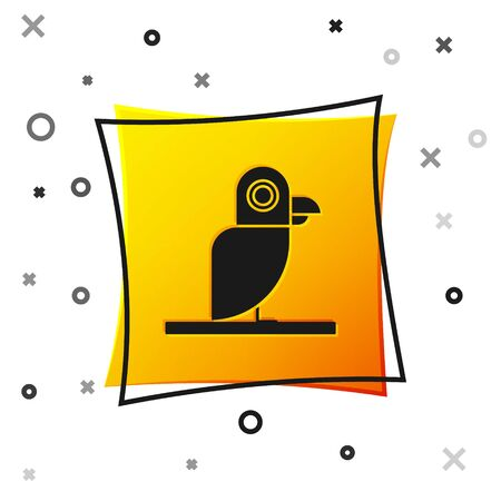 Black Pirate parrot icon isolated on white background. Yellow square button. Vector Illustration
