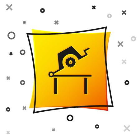 Black Table saw for woodwork icon isolated on white background. Power saw bench. Yellow square button. Vector Illustration Çizim