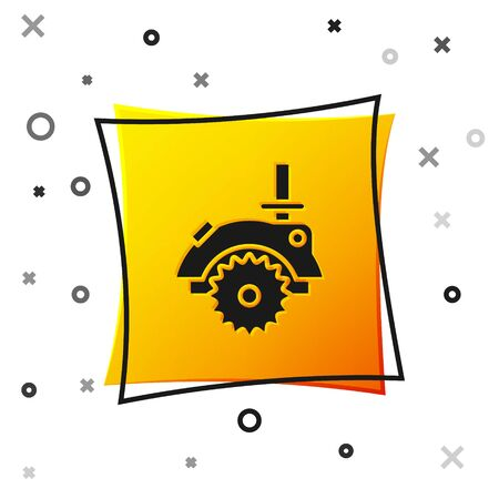Black Electric circular saw with steel toothed disc icon isolated on white background. Electric hand tool for cutting wood or metal. Yellow square button. Vector Illustration Çizim