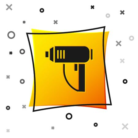 Black Electric industrial dryer icon isolated on white background. Yellow square button. Vector Illustration 向量圖像