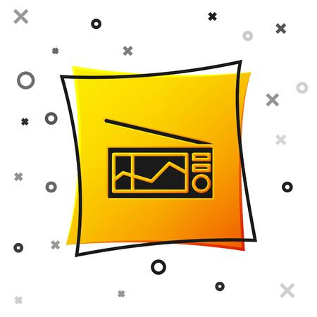 Black Radio with antenna icon isolated on white background. Yellow square button. Vector Illustration