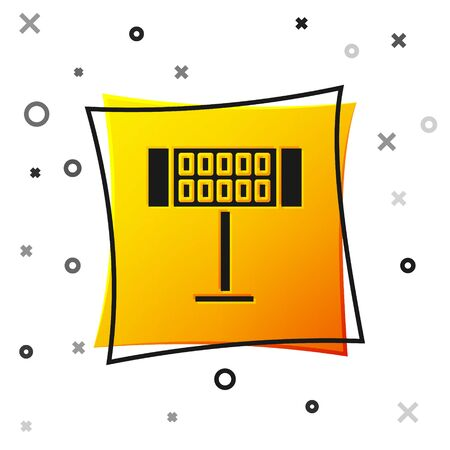 Black Electric heater icon isolated on white background. Infrared floor heater with remote control. House climate control. Yellow square button. Vector Illustration