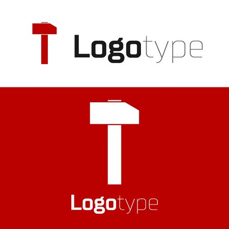 Red Hammer icon isolated on white background. Tool for repair. Logo design template element. Vector Illustration