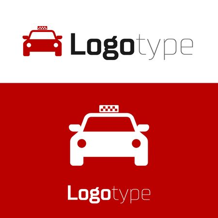 Red Taxi car icon isolated on white background. Logo design template element. Vector Illustration