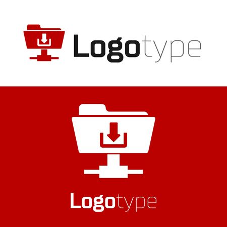 Red FTP folder download icon isolated on white background. Software update, transfer protocol, router, teamwork tool management, copy process. Logo design template element. Vector Illustration