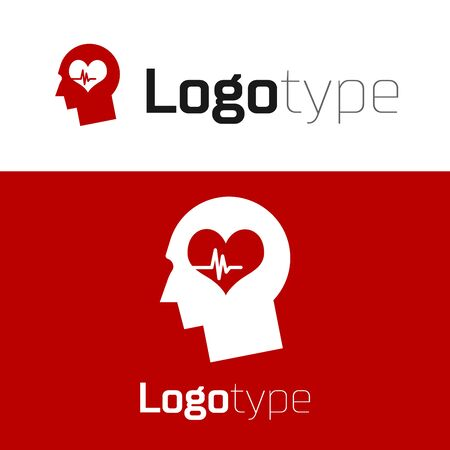 Red Male head with a heartbeat icon isolated on white background. Head with mental health, healthcare and medical sign. Logo design template element. Vector Illustration Stock Illustratie