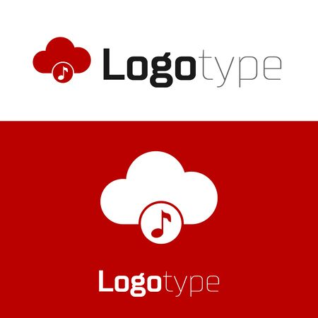 Red Music streaming service icon isolated on white background. Sound cloud computing, online media streaming, online song, audio wave. Logo design template element. Vector Illustration