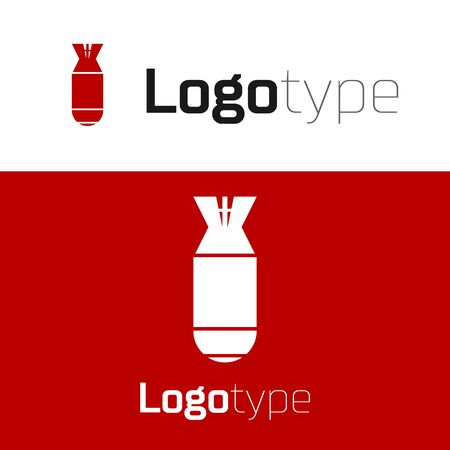 Red Aviation bomb icon isolated on white background. Rocket bomb flies down. Logo design template element. Vector Illustration