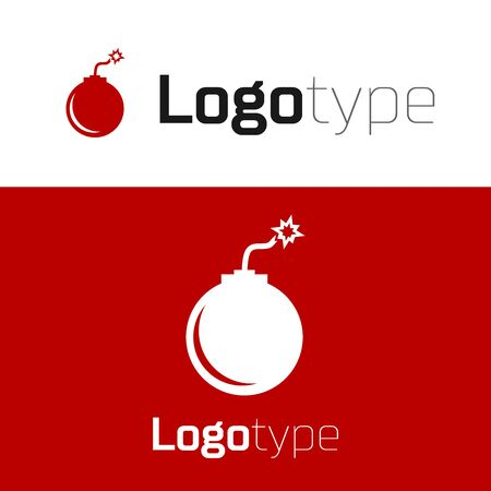 Red Bomb ready to explode icon isolated on white background. Logo design template element. Vector Illustration