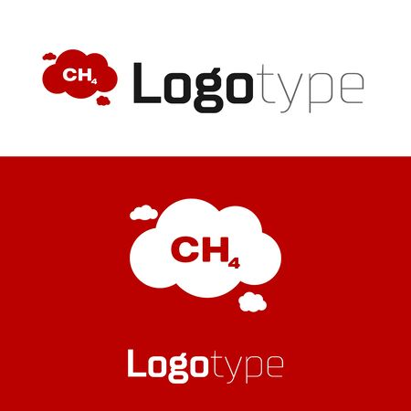 Red Methane emissions reduction icon isolated on white background. CH4 molecule model and chemical formula. Marsh gas. Natural gas. Logo design template element. Vector Illustration Ilustrace