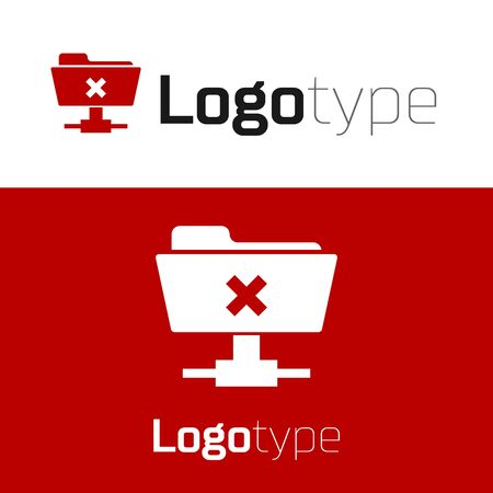 Red FTP cancel operation icon isolated on white background. Software update, transfer protocol, router, teamwork tool management, copy process.