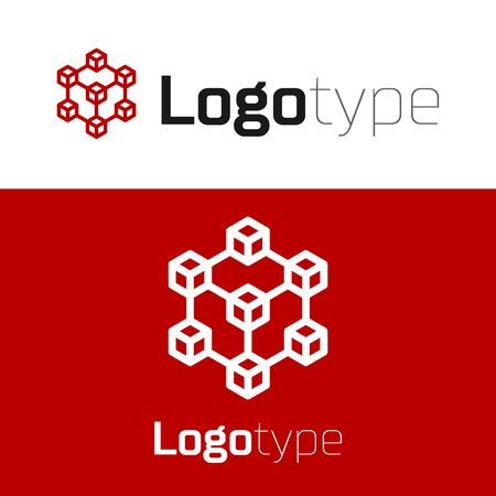 Red Blockchain technology icon isolated on white background. Cryptocurrency data. Abstract geometric block chain network technology business.