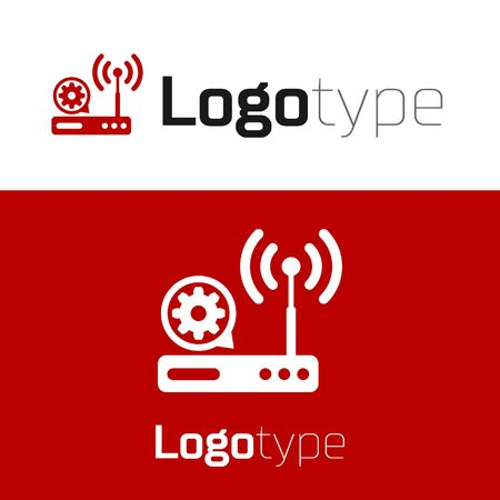 Red Router and wifi signal and gear icon isolated on white background. Adjusting app, service concept, setting options, maintenance, repair, fixing. Illustration