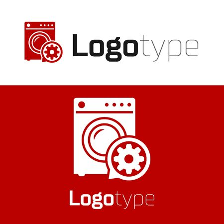 Red Washer and gear icon isolated on white background. Adjusting app, service concept, setting options, maintenance, repair, fixing. Logo design template element. Vector Illustration