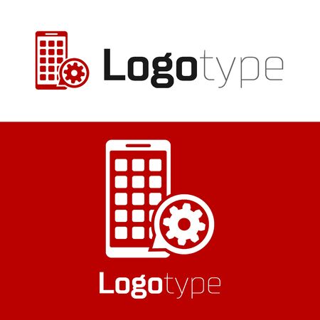 Red Mobile Apps and gear icon isolated on white background. Adjusting app, service concept, setting options, maintenance, repair, fixing. Logo design template element. Vector Illustration