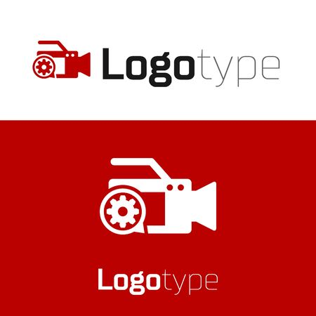 Red Video camera and gear icon isolated on white background. Adjusting app, service concept, setting options, maintenance, repair, fixing. Logo design template element. Vector Illustration
