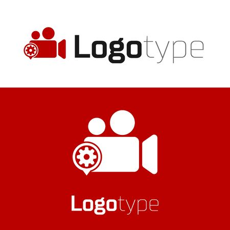 Red Movie or Video camera and gear icon isolated on white background. Adjusting app, service concept, setting options, maintenance, repair, fixing. Logo design template element. Vector Illustration