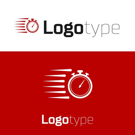 Red Stopwatch icon isolated on white background. Time timer sign. Chronometer sign. Logo design template element. Vector Illustration
