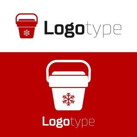 Red Cooler bag icon isolated on white background. Portable freezer bag. Handheld refrigerator. Logo design template element. Vector Illustration