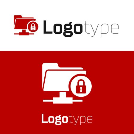 Red FTP folder and lock icon isolated on white background. Concept of software update, ftp transfer protocol. Security, safety, protection concept. Logo design template element. Vector Illustration