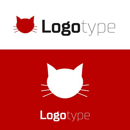 Red Cat icon isolated on white background. Logo design template element. Vector Illustration