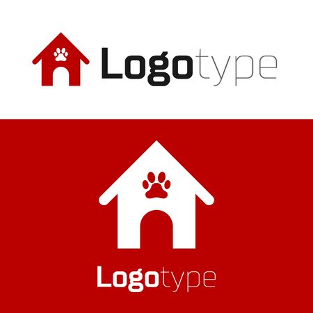Red Dog house and paw print pet icon isolated on white background. Dog kennel. Logo design template element. Vector Illustration Logo