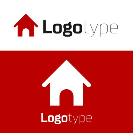 Red Dog house icon isolated on white background. Dog kennel. Logo design template element. Vector Illustration