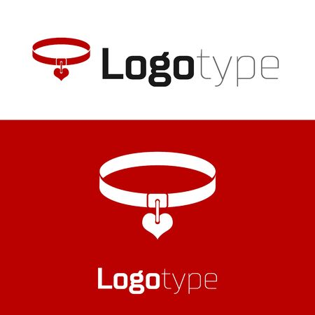 Red Collar with name tag and heart icon isolated on white background. Simple supplies for domestic animal. Cat and dog care. Pet chains. Logo design template element. Vector Illustration