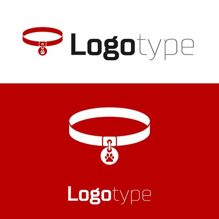 Red Collar with name tag icon isolated on white background. Supplies for domestic animal. Dog or cat paw print. Cat and dog care. Pet chains. Logo design template element. Vector Illustration