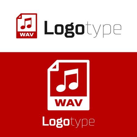 Red WAV file document. Download wav button icon isolated on white background. WAV waveform audio file format for digital audio riff files. Logo design template element. Vector Illustration