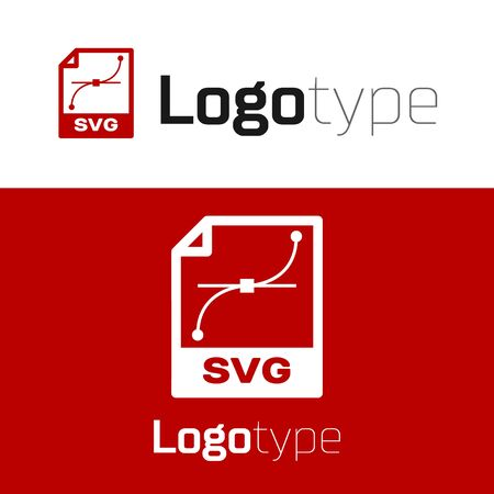 Red SVG file document. Download svg button icon isolated on white background. SVG file symbol. Logo design template element. Vector Illustration