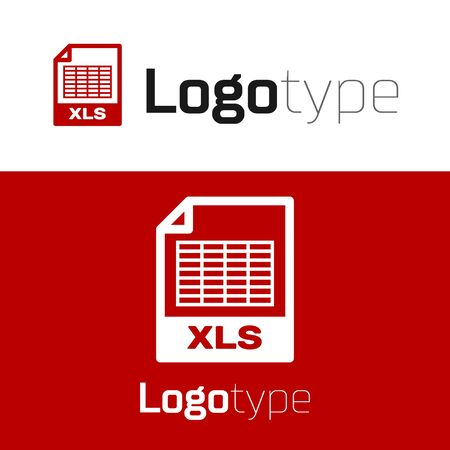 Red XLS file document. Download xls button icon isolated on white background. Excel file symbol. Logo design template element. Vector Illustration