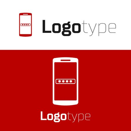 Red Mobile phone and password protection icon isolated on white background. Security, safety, personal access, user authorization, privacy. Logo design template element. Vector Illustration