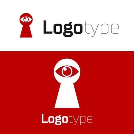 Red Keyhole with eye icon isolated on white background. The eye looks into the keyhole. Keyhole eye hole. Logo design template element. Vector Illustration
