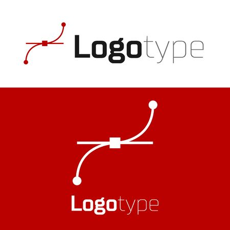 Red Bezier curve icon isolated on white background. Pen tool icon. Logo design template element. Vector Illustration Çizim