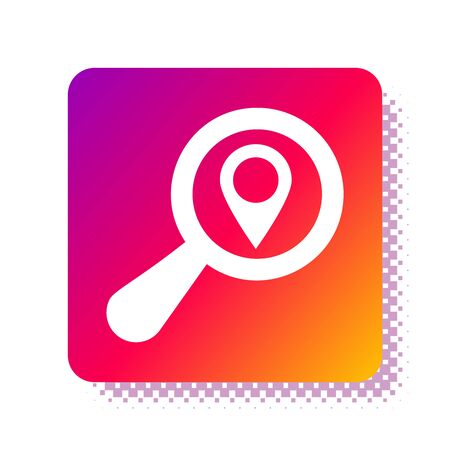 White Search location icon isolated on white background. Magnifying glass with pointer sign. Square color button. Vector Illustration 일러스트