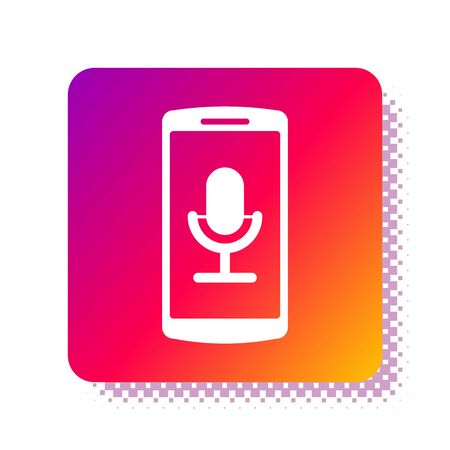 White Mobile recording icon isolated on white background. Mobile phone with microphone. Voice recorder app smartphone interface. Square color button. Vector Illustration