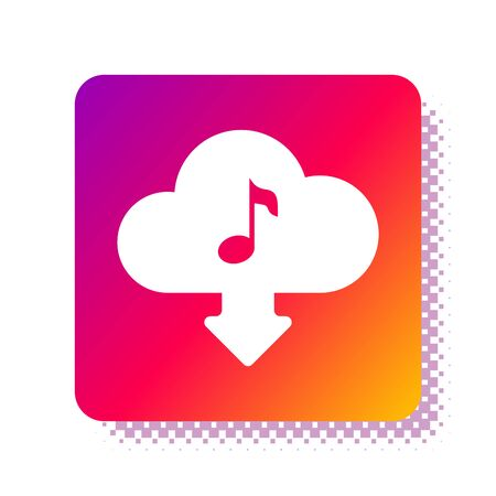 White Cloud download music icon isolated on white background. Music streaming service, sound cloud computing, online media streaming, audio wave. Square color button. Vector Illustration